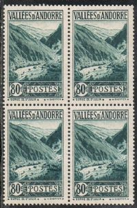 Andorra (French POs) SG F49 1941 Definitive 80c block of 4 unmounted mint